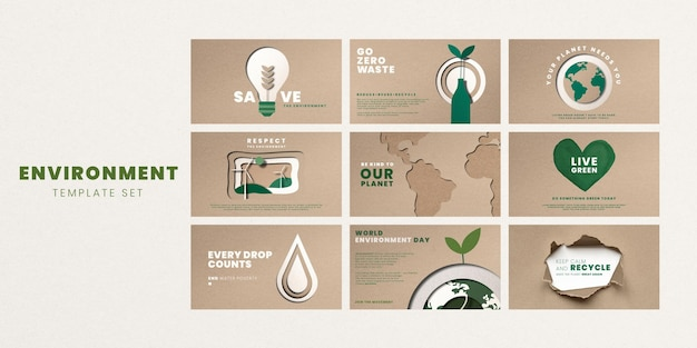 Zapisz wektor szablonów planet dla zestawu kampanii na światowy dzień ochrony środowiska