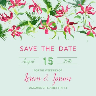 Zapisz zaproszenie na randkę z kwiatowym szablonem