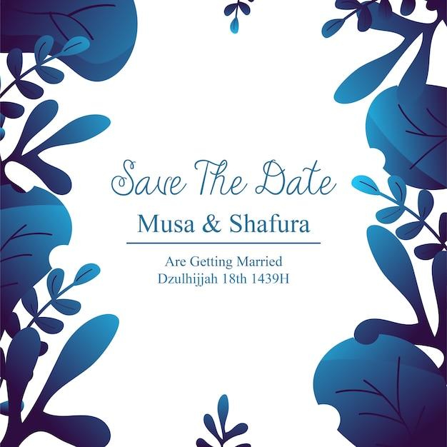 Zapisz zaproszenie na ślub data z motywem niebiesko-kwiatowym