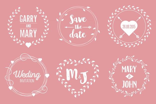 Zapisz zestaw ilustracji ślubnych daty.