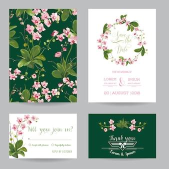 Zapisz zestaw kart daty. zaproszenie na ślub tropikalne kwiaty i liście orchidei. wektor