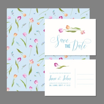Zapisz zestaw kartek z datą z kwiatami tulipanów kwiatowych