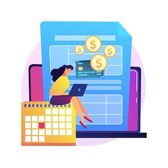 Zapłać saldo zadłużenia ilustracji abstrakcyjnej koncepcji. dokonywanie spłaty kredytu, spłata zadłużenia bankowi, należne saldo, konsolidacja i zarządzanie długiem, rachunek podatnika.