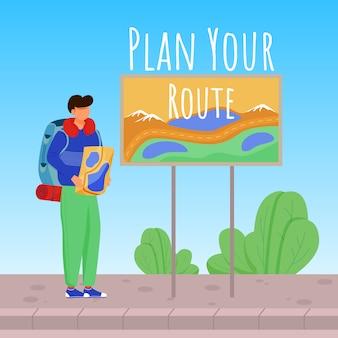 Zaplanuj swoją trasę w mediach społecznościowych. chłopiec z mapą. aktywne wakacje szablon projektu banerów reklamowych. wzmacniacz mediów społecznościowych, układ treści. plakat promocyjny, drukuj reklamy z płaskimi ilustracjami