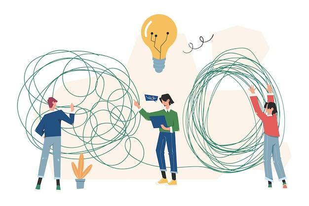 Zaplątana burza mózgów, początek i koniec myśli, abstrakcyjna metafora, koncepcja rozwiązywania problemów biznesowych