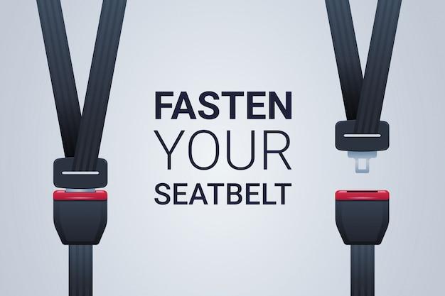 Zapnij pas bezpieczeństwa plakat bezpieczna podróż bezpieczeństwo pierwsza koncepcja pozioma płaska