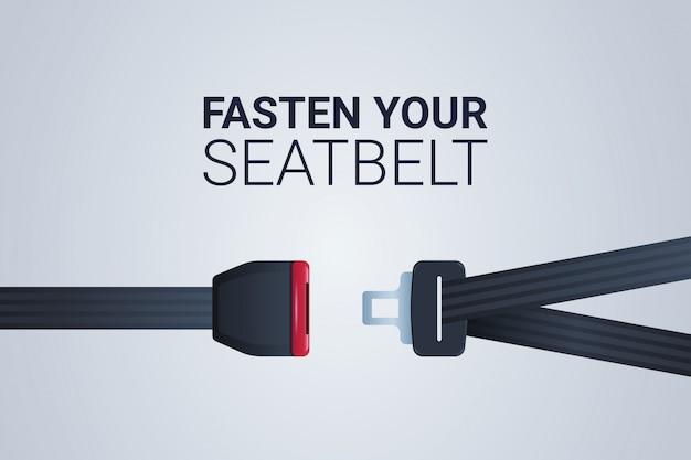 Zapnij znak pasa bezpieczeństwa bezpieczna podróż bezpieczeństwo pierwsza koncepcja pozioma płaska