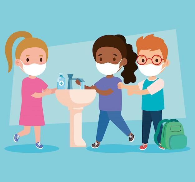 Zapobiegaj covidowi 19, nosząc maskę medyczną, myj ręce, dzieci noszące maskę ochronną, pojęcie opieki zdrowotnej