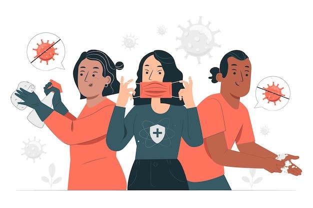 Zapobiegaj ilustracji koncepcji odbicia epidemii