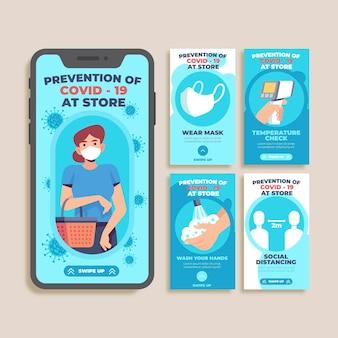 Zapobieganie covid-19 w sklepie instagram stories
