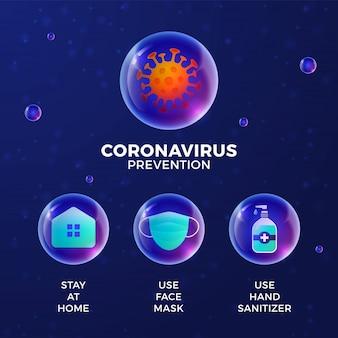 Zapobieganie covid-19 wszystko w jednym. ochrona koronawirusa z realistycznym zestawem ikon błyszczący kulki. zostań w domu, używaj maski na twarz, dezynfekcji rąk