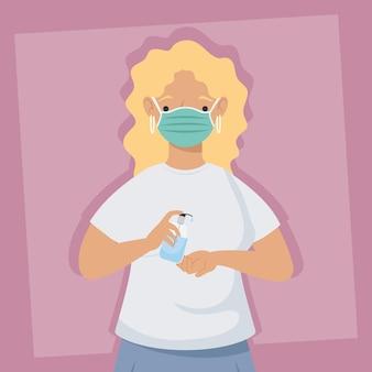 Zapobieganie covid, kobieta ubrana w maskę medyczną z antybakteryjną butelką w rękach na różowym tle ilustracji
