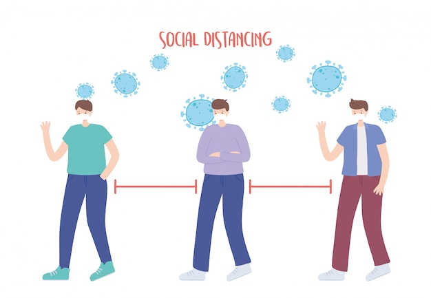 Zapobieganie dystansowi społecznemu koronawirusa, młodzi mężczyźni zachowują dystans, rozprzestrzenianie się epidemii, ludzie z medyczną maską na twarz