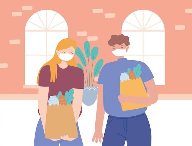 Zapobieganie dystansowi społecznemu koronawirusa, para z maską na twarz trzymająca torby spożywcze trzymające dystans