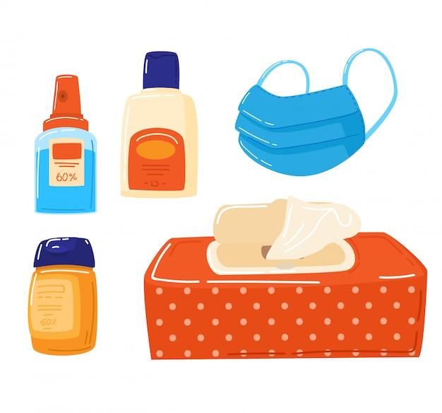 Zapobieganie i ochrona przed koronawirusem, alkoholowy żel antyseptyczny do czyszczenia rąk i zapobiegania zarazkom, ilustracja dezynfekcji medycznej.