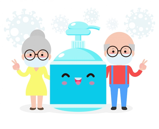 Zapobieganie koronawirusom, żel dla starszych par i alkohol, osoby starsze i ochrona przed wirusami i bakteriami, pojęcie zdrowego stylu życia na białym tle na ilustracji