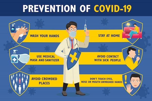 Zapobieganie plakatowi infograficznemu covid-19 z lekarzem. lekarz trzyma tarczę i strzykawkę. plakat ochrony koronawirusa