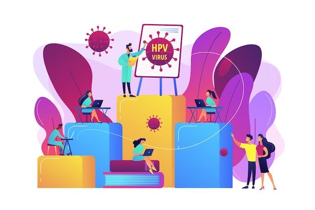 Zapobieganie zakażeniom i nauka leczenia. programy edukacyjne dotyczące hpv, kurs edukacyjny dotyczący wirusa brodawczaka ludzkiego, koncepcja konsultacji online hpv. jasny żywy fiolet na białym tle ilustracja