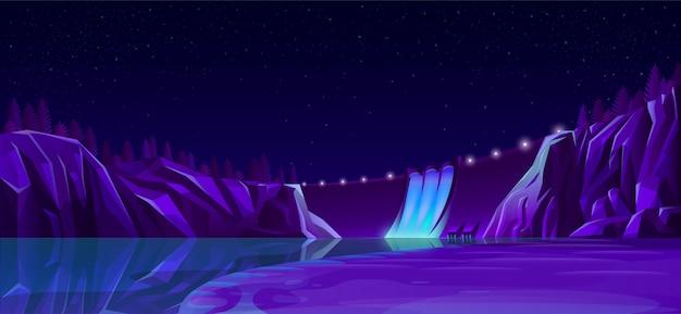Zapora mocy z oświetleniem drogowym piękny krajobraz nocny