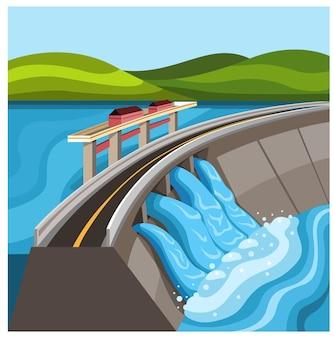 Zapora wodna zbiornik hydroelektrownia roślina ilustracja kreskówka wektor