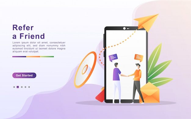Zapoznaj się z koncepcją ilustracji przyjaciela. ludzie dzielą się informacjami na temat rekomendacji i zarabiają pieniądze, strategię marketingową, dzielą się polecanymi firmami. płaska konstrukcja strony docelowej
