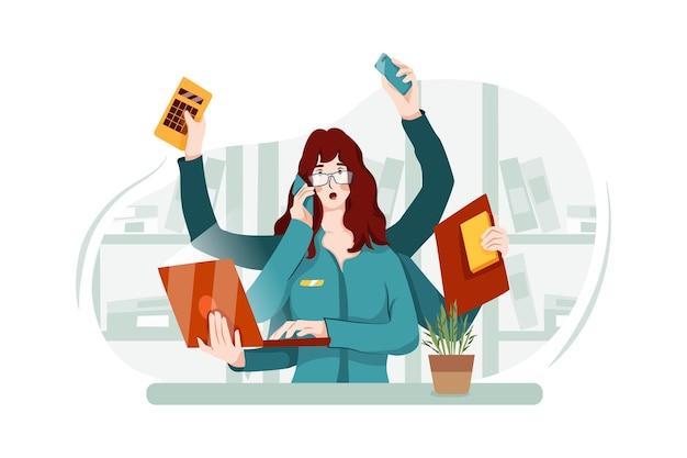 Zapracowana pracownica biura ma wiele rzeczy do zrobienia