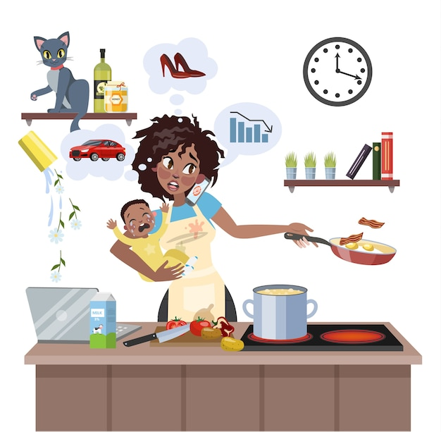 Zapracowana wielozadaniowa matka z dzieckiem nie potrafiła zrobić wielu rzeczy naraz. zmęczona kobieta w stresie z bałaganem. styl życia gospodyni domowej. ilustracja