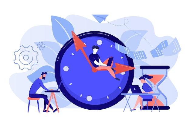 Zapracowani biznesmeni z laptopami spieszą się do wykonania zadań przy ogromnym zegarze i klepsydrze. termin, termin projektu, ilustracja koncepcja terminów zadań
