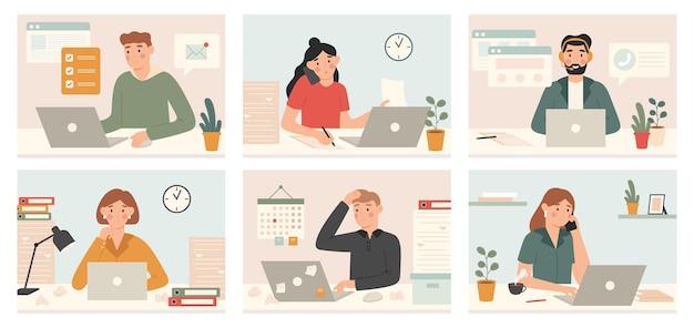 Zapracowani pracownicy pracują z laptopem. termin, zmęczeni zapracowani ludzie ze zbyt dużą liczbą zadań i ustawionymi ilustracjami procesów pracy biurowej.