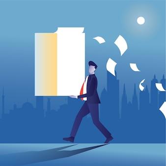 Zapracowany biznesmen przynieść pełny stos lub papierkową robotę