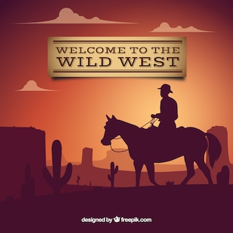 Zapraszamy do dzikiego zachodu tle z kowbojem