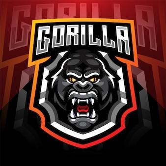 Zaprojektowane logo maskotki goryl głowy