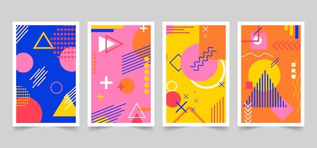 Zaprojektowany przez memphis kolorowy pakiet okładek