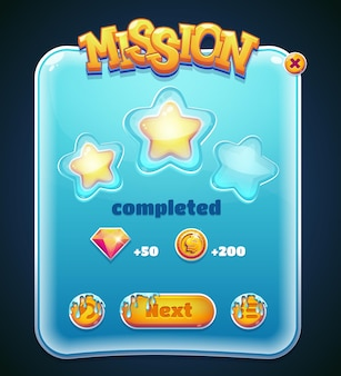 Zaprojektowany w formie graficzny interfejs użytkownika do gier wideo. okno ukończenia misji. ilustracji wektorowych.