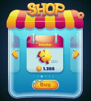 Zaprojektowany w formie graficzny interfejs użytkownika do gier wideo. wystawa sklepowa. ilustracji wektorowych.