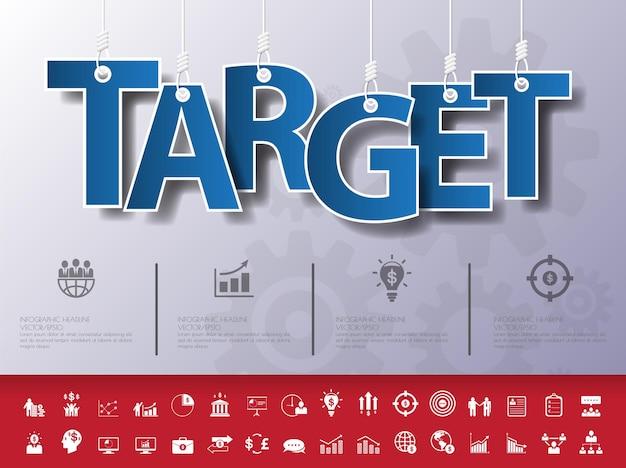 Zaprojektuj abstrakcyjną infografikę na ilustracji linydocelowy zestaw ikon