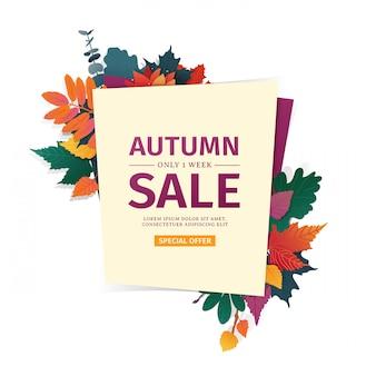 Zaprojektuj baner z logo jesiennej sprzedaży. karta rabatowa na sezon jesienny z białą ramką i ziołem