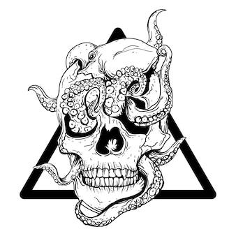 Zaprojektuj czarno-białą ręcznie rysowane ilustracyjną czaszkę z ośmiornicą w trójkącie premium