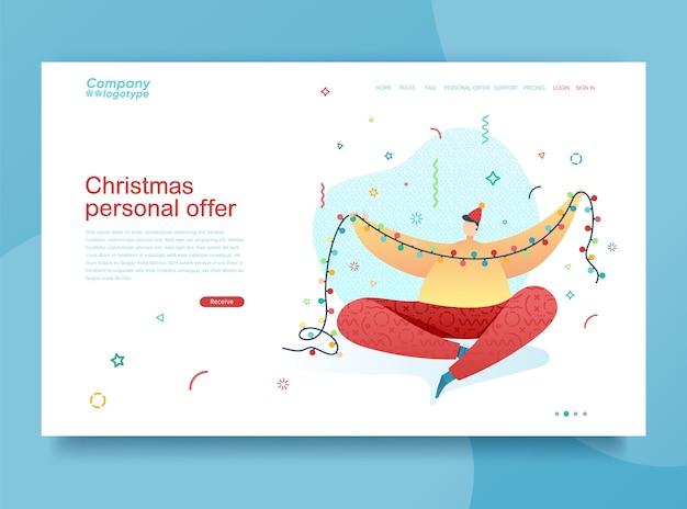 Zaprojektuj ilustrację szczęśliwego nowego roku młody chłopak zdobi choinkę