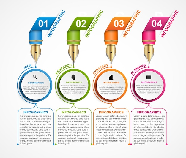 Zaprojektuj infografikę za pomocą pióra atramentowego ilustracji wektorowych