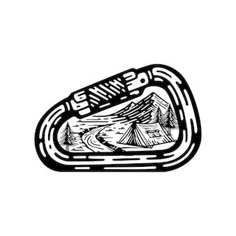 Zaprojektuj kemping i górskie krajobrazy wewnątrz rocznika ilustracji karabińczyka