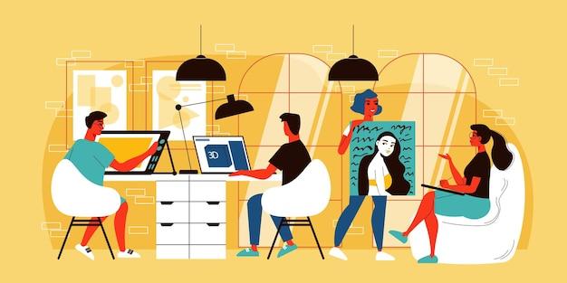 Zaprojektuj kompozycję studyjną z wewnętrznym widokiem kreatywnego wnętrza biurowego z ilustracjami komputerów pracujących i obrazów