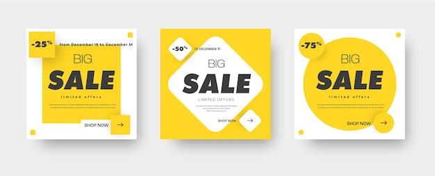 Zaprojektuj kwadratowe białe banery na sprzedaż z żółtym kwadratem, rombem i kółkiem w tle. szablony do projektowania stron internetowych. zestaw. ilustracja