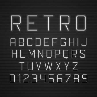 Zaprojektuj litery retro szyld z szablonem lekkich lamp neonowych