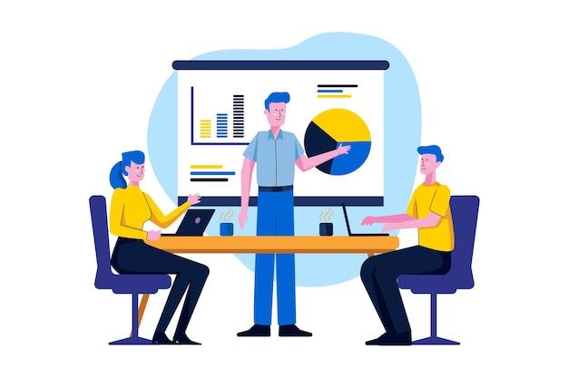 Zaprojektuj ludzi na ilustracji szkolenia biznesowego w stylu płaski