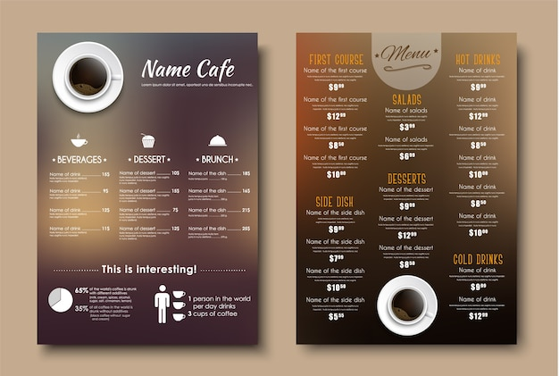 Zaprojektuj menu dla restauracji, kawiarni lub kawiarni a4.