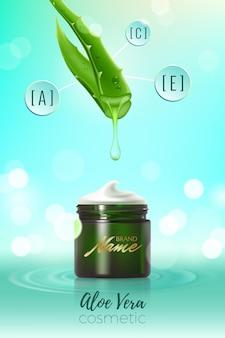 Zaprojektuj plakat reklamowy produktu kosmetycznego do katalogu, magazynu. wektor wzór opakowania kosmetycznego. nawilżający krem, żel, balsam do ciała z ekstraktem z aloesu.