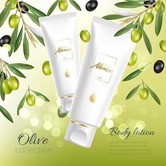 Zaprojektuj reklamę produktów kosmetycznych do katalogu, magazynu. makieta pakietu kosmetycznego. nawilżający krem, żel, mleczny balsam do ciała z oliwą z oliwek.