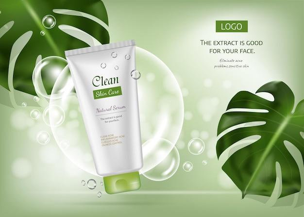 Zaprojektuj reklamę produktu kosmetycznego dla magazynu katalogowego projekt wektorowy opakowania kosmetycznego
