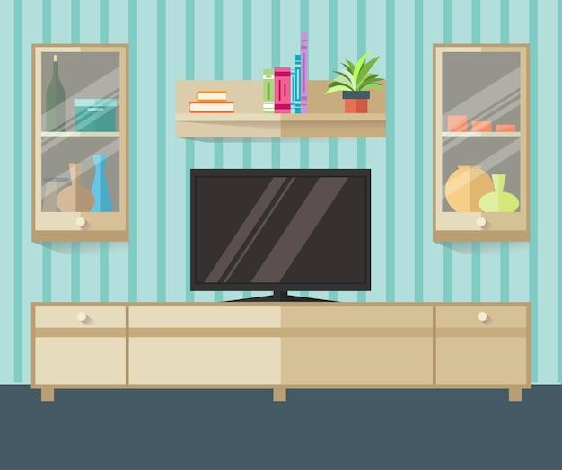 Zaprojektuj strefę telewizyjną w stylu płaskim. wnętrze salonu z meblami, telewizorem i półką.